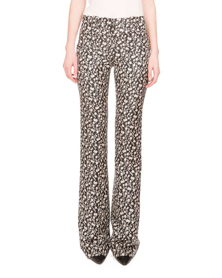 Altuzarra Serge Floral-Print Boot-Cut Pants, Black/Natural White