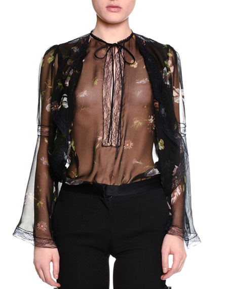 Long-Sleeve Moonlit Floral-Print Blouse, Black/Mix