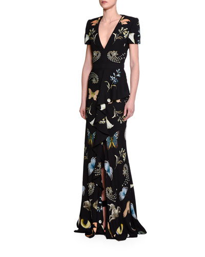 Obsessions Short-Sleeve Gown, Black/Mix