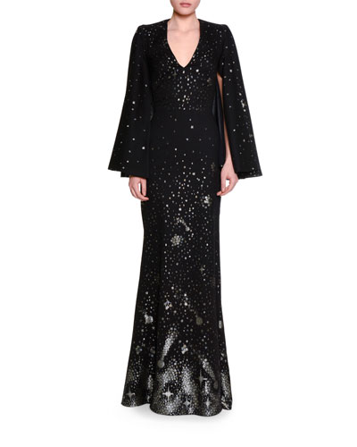 Moon & Star V-Neck Cape Gown, Black/Silver/Gold