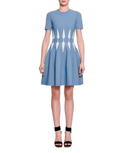 Short-Sleeve Harness-Waist Dress, Dream Blue/Ivory