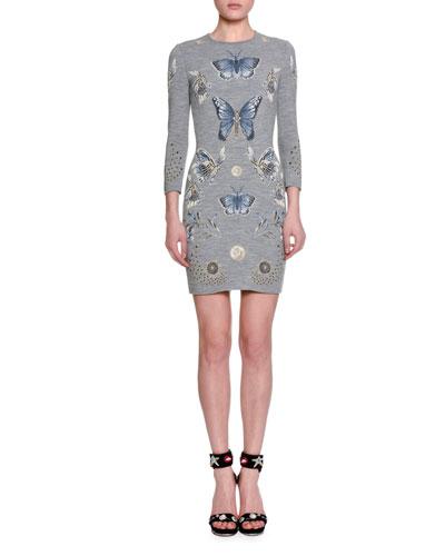 Obsession 3/4-Sleeve Sheath Dress, Gray/Multi/Blue