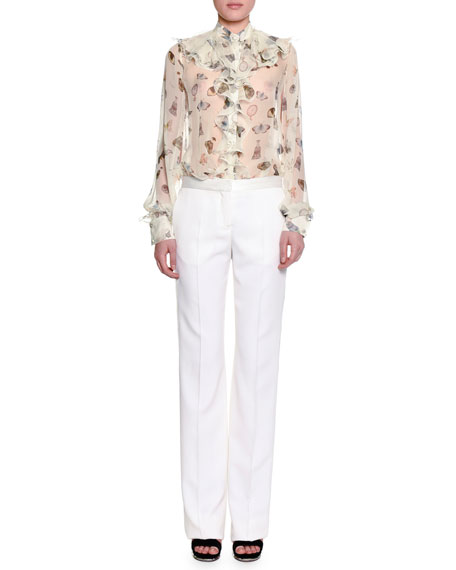 Flat-Front Straight-Leg Tuxedo Pants, Silk White