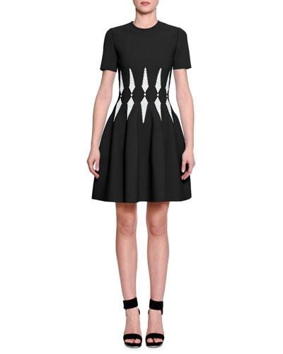 Short-Sleeve Harness-Waist Dress, Dream Black/Ivory