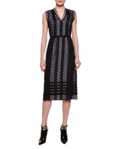 Sleeveless Grid-Over-Floral Sheath Dress