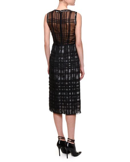 Sleeveless Plaid-Over-Floral Sheath Dress, Mist/Black