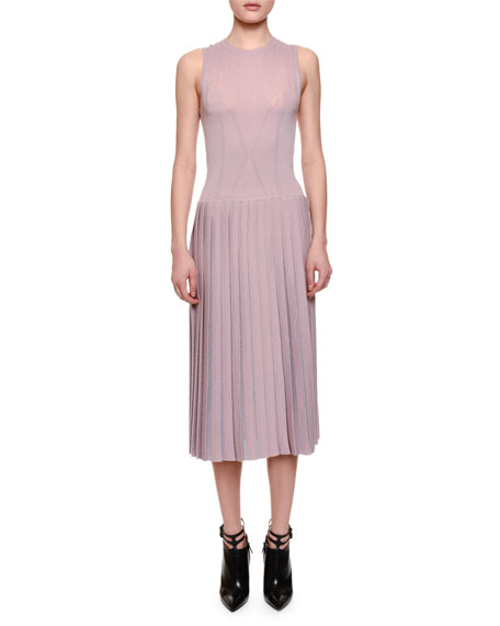 Bottega Veneta Sleeveless Pleated-Skirt Midi Dress, Rose Bouvard
