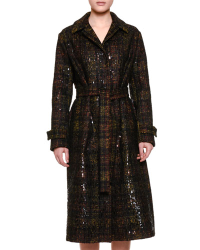 Notch-Collar Embellished Plaid Trench Coat, Black/Ancient Gold