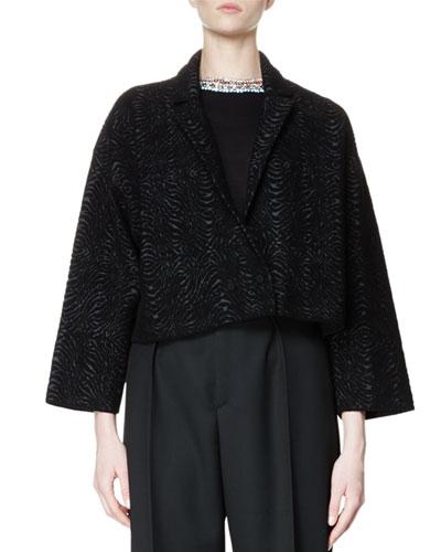 Bracelet-Sleeve Oversized Moire Jacket, Black