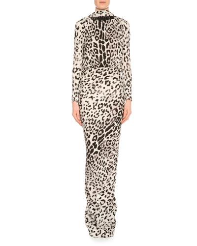 Long-Sleeve Low-Back Jaguar-Print Gown, Gray/Black