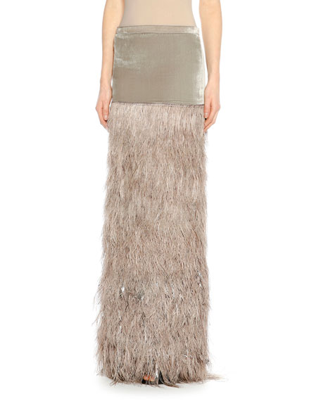 TOM FORD Feather-Embellished Column Maxi Skirt