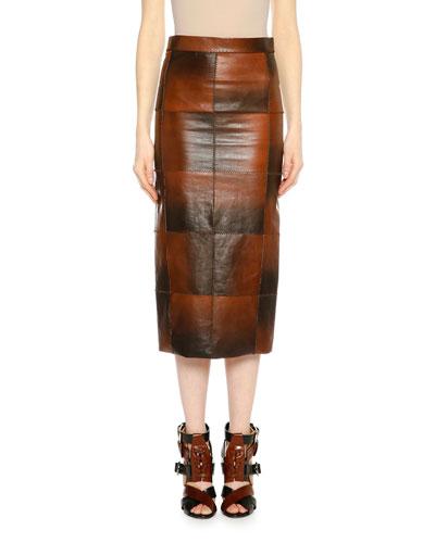 Mid-Rise Patchwork Leather Midi Skirt, Cognac
