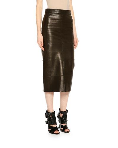 Mid-Rise Patchwork Leather Midi Skirt, Black