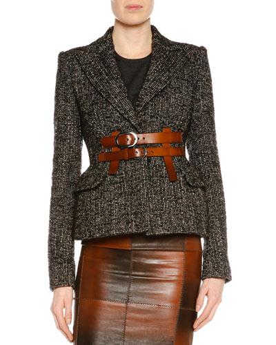 Peak-Lapel Jacket W/Removable Buckles, Brown/Gray