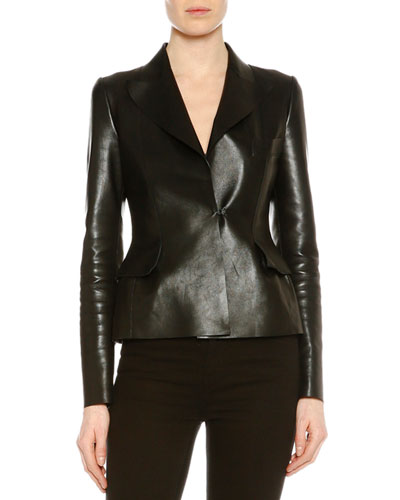 Natural Satine Fitted Leather Jacket, Black