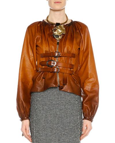 Zip-Front Buckled Leather Degrade Jacket, Cognac