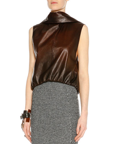 Sleeveless Open-Back Leather Top, Cognac