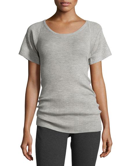 Derek Lam Short-Sleeve Scoop-Neck Cashmere/Silk Top, Pale Gray