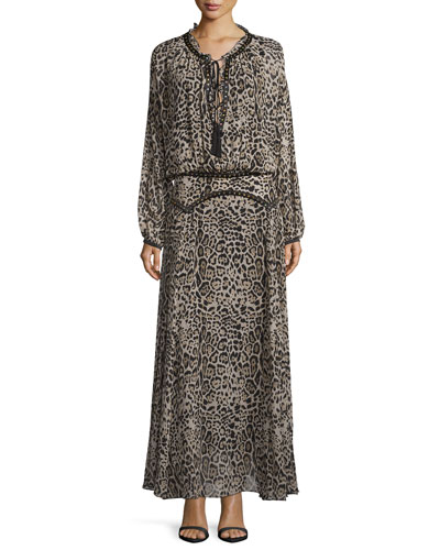 Leopard-Print Drop-Waist Maxi Dress, Brown/Black