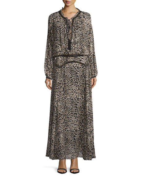 Roberto Cavalli Leopard-Print Drop-Waist Maxi Dress, Brown/Black