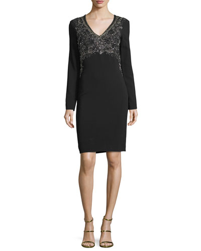 Floral-Embellished Sheath Dress, Black