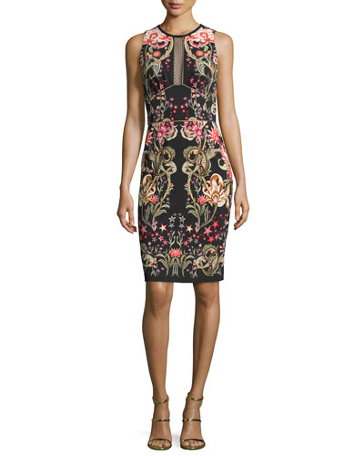 Galaxy & Garden Printed Sleeveless Sheath Dress, Black/Red
