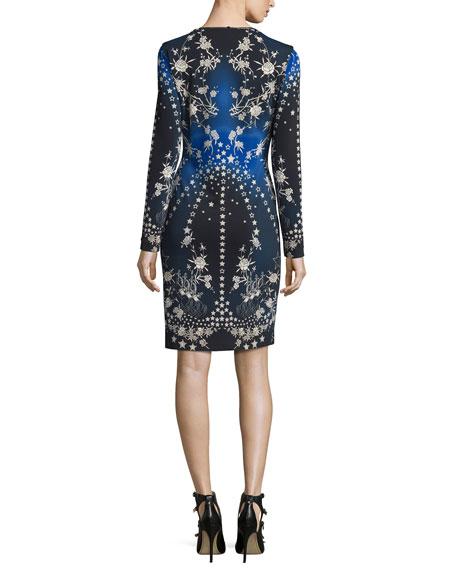 Star-Print Long-Sleeve V-Neck Dress, Blue/Multi