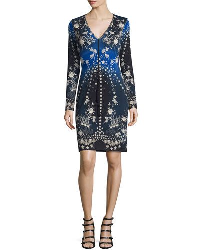 Star-Print Long-Sleeve V-Neck Dress, Blue/Multi