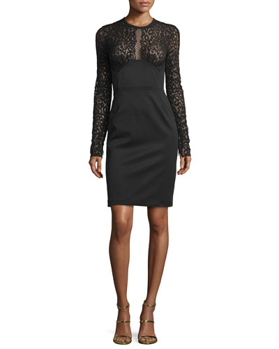 Leopard-Lace Sheath Dress, Black