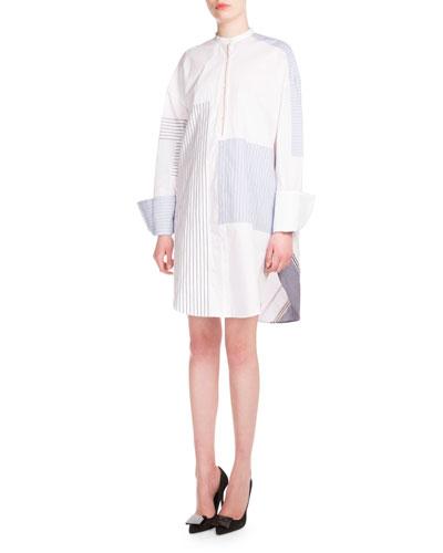 Long-Sleeve Mix-Striped Shirtdress, Mixed Blue Stripe