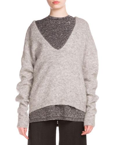 Long-Sleeve V-Neck Oversized Sweater, Husky Gray