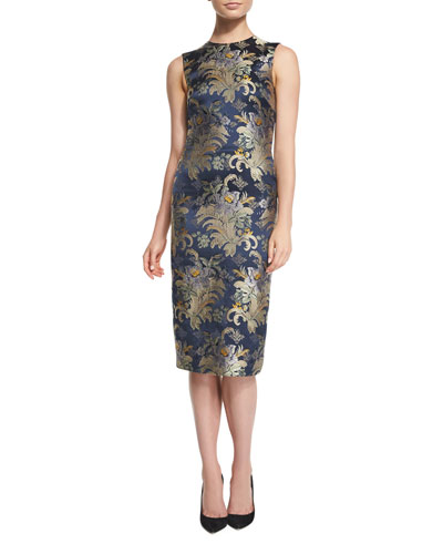 Georgia Baroque Silk Brocade Sheath Dress, Petrol/Multi
