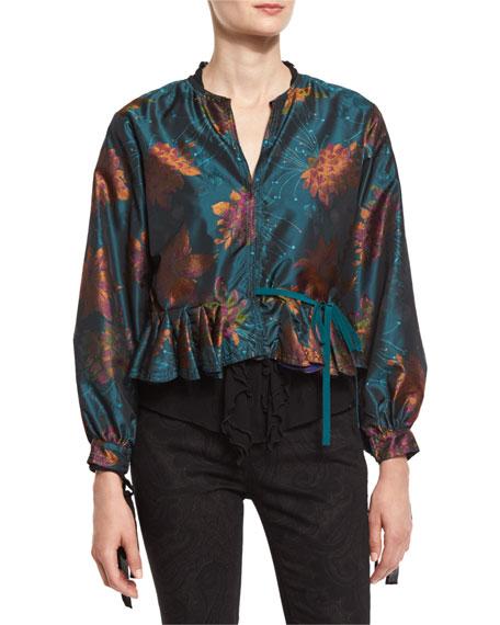 Etro Floral Godet-Edge Peplum Jacket, Ruffled-Front Silk Blouse