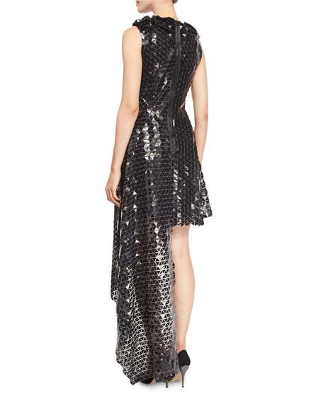 Paillette-Applique Asymmetric-Hem Cocktail Dress, Black