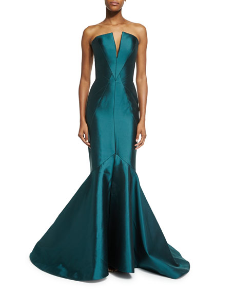 Strapless Fitted Mermaid Gown, Emerald