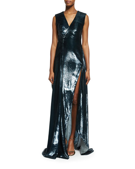 Sleeveless V-Neck Shimmery Gown, Dark Silver