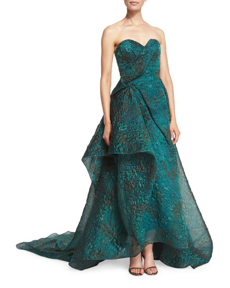Asymmetric-Ruffle Strapless Gown, Emerald Teal