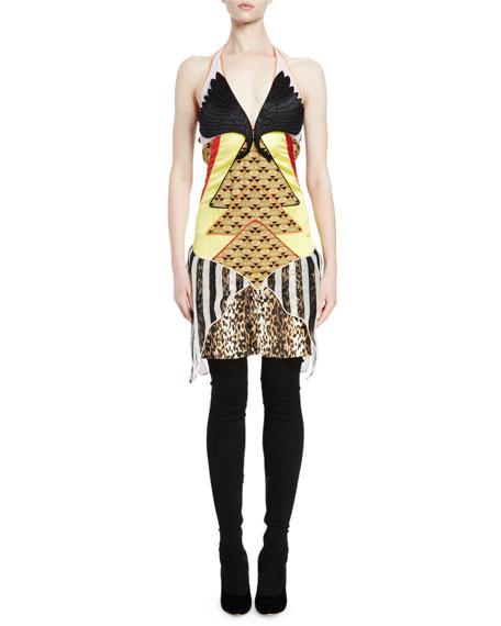 Givenchy Winged-Bust Mixed-Media Slip Dress, Multi