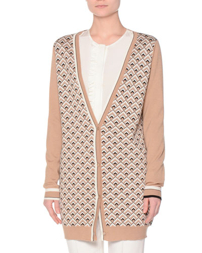 Long-Sleeve Printed-Front Cardigan, Camel/Black/Multi