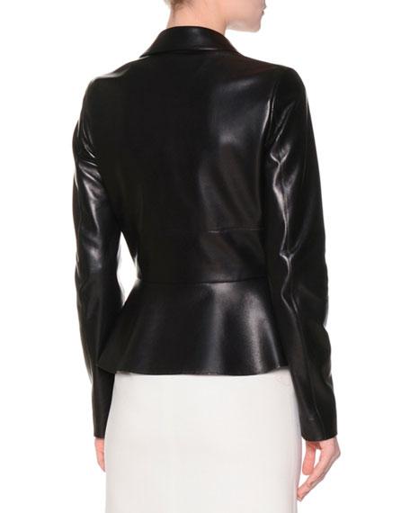 Two-Button Leather Peplum Jacket, Black