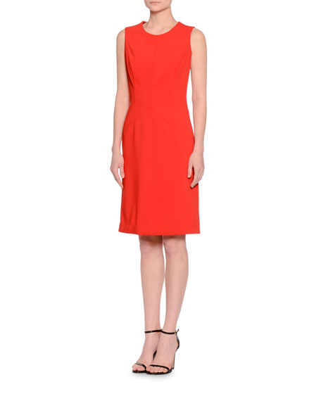 Seamed Sleeveless Sheath Dress, Red