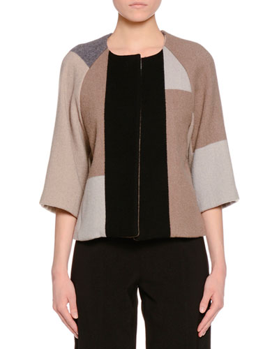 3/4-Sleeve Patchwork Open-Front Jacket, Multi Colors