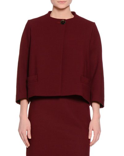 Short One-Button Jacket, Burgundy