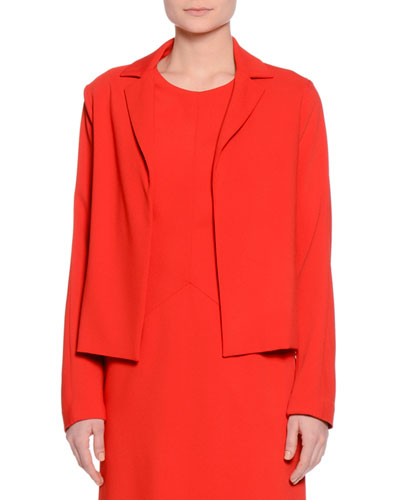 Notch-Collar Open-Front Jacket, Red