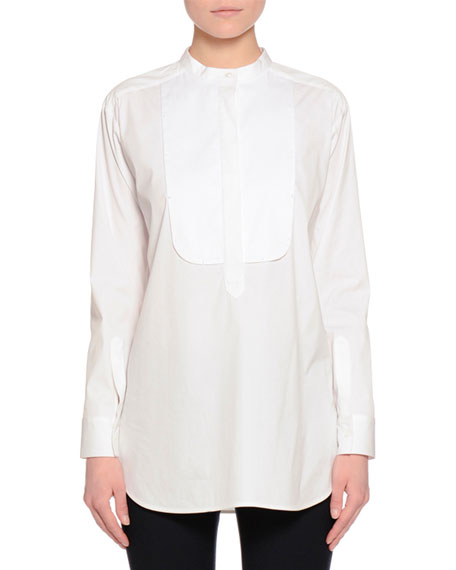 Long-Sleeve Pickstitch Tunic, White