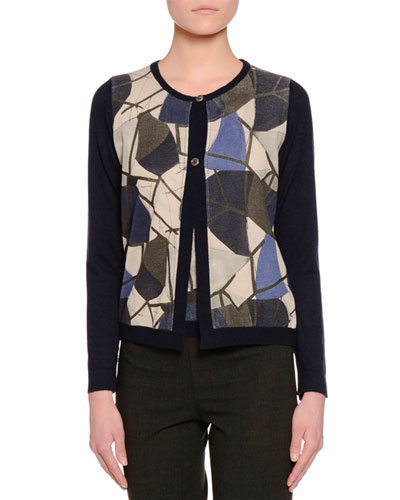 Button-Front Delaunay-Printed Cardigan, Navy