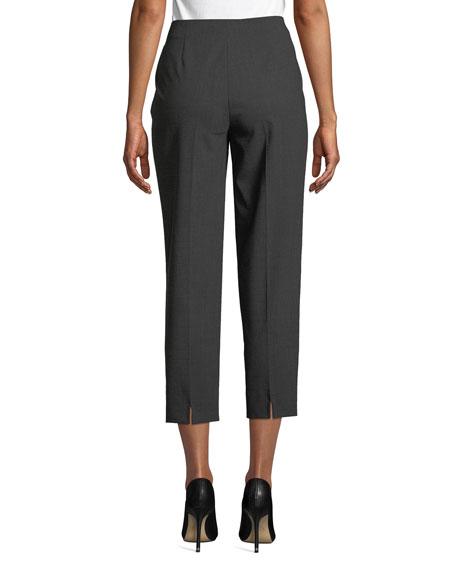 Side-Zip Skinny Cropped Pants, Gray