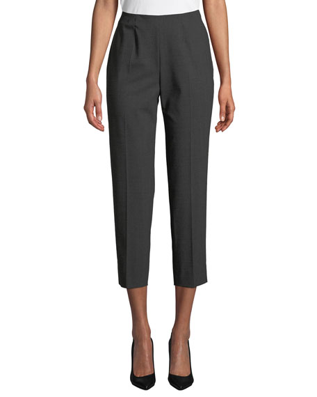 Piazza Sempione Side-Zip Skinny Cropped Pants, Gray