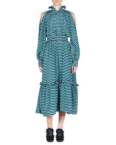 Cold-Shoulder Wavy-Striped Belted Midi Dress, Tourmaline/Malachite