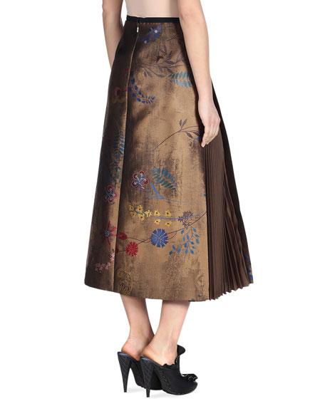 Botanical Wallpaper-Print A-Line Midi Skirt, Gold/Multi